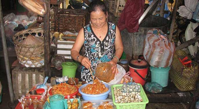 An open air market in Vietnam